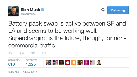elon musk tweet, battery swaps